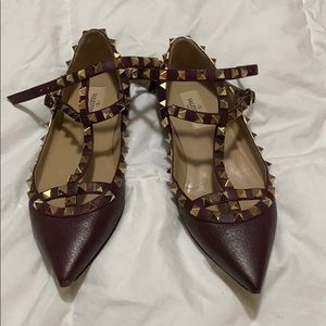 Authentic Valentino Rockstud Flats gold 36.5 6.5